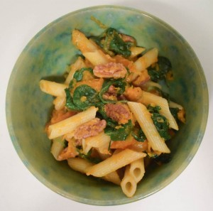 Butternut Squash Kale Pasta recipe by Marie Segares for Cheap Eats Thrifty Crafts