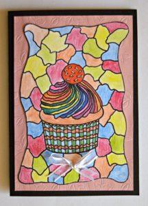Adult Coloring Cupcake Birthday Card2
