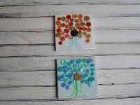 Mini Button Canvas Trees