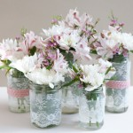 Lace Mason Jar Centerpieces