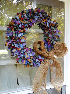 Multi-Colored Denim Wreath