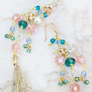 Colorful Crystal Waterfall Drop Earrings