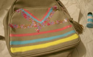 backpack, back to school, plaid, paint, diy, tribal pattern, stamps