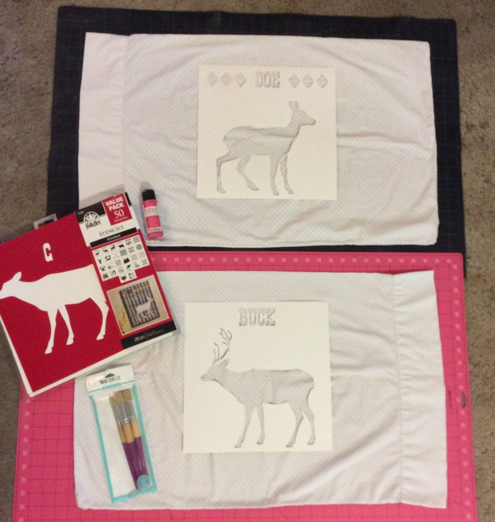 Matching Stenciled Pillowcases