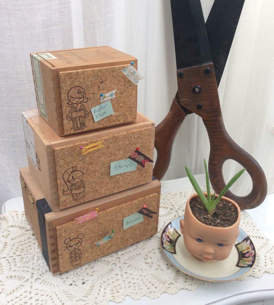 Recycled craft cigar box cork board organizers cheap for Cardboard cigar box crafts